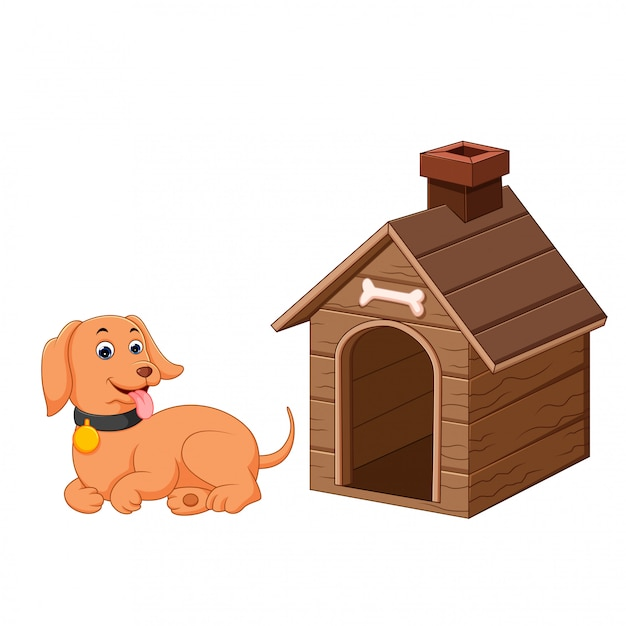 Cachorro e casa de cachorro de estimação Vetor Premium