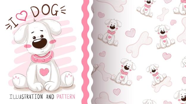 Cachorro fofo, cachorro - padrão sem emenda Vetor Premium