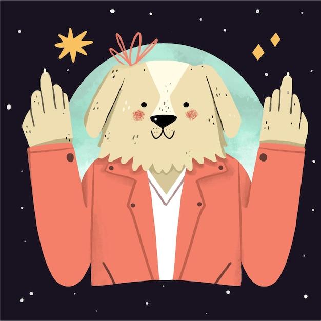 Cachorro fofo mostrando o símbolo de foda-se Vetor grátis