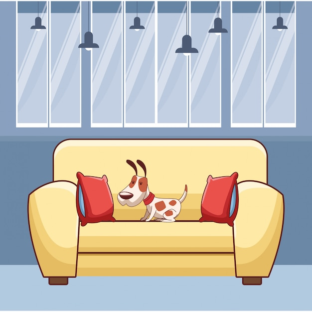 Cachorro no sofá com almofadas em preto e branco Vetor Premium
