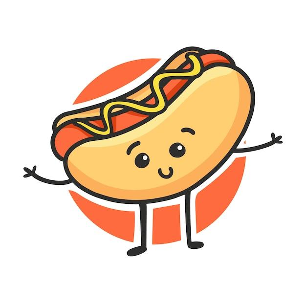 Cachorro-quente bonito dos desenhos animados. fofo fast food vector character isolado Vetor Premium