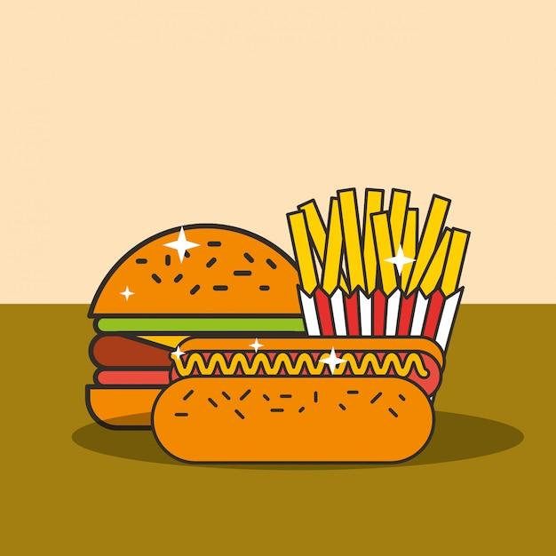 Cachorro-quente de hambúrguer de fast-food e batatas fritas Vetor Premium