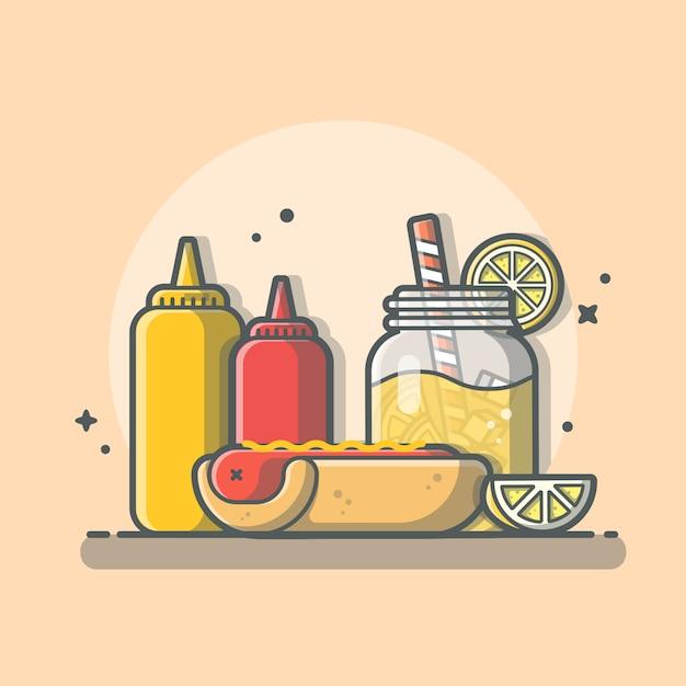Cachorro-quente saboroso menu combo com suco de laranja, ketchup e mostarda icon ilustração isolado Vetor Premium
