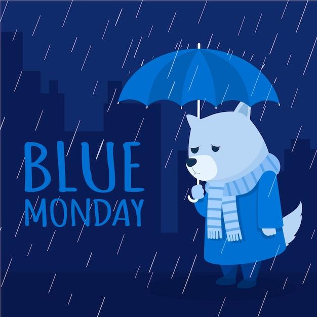 Cachorro triste na segunda-feira azul Vetor grátis