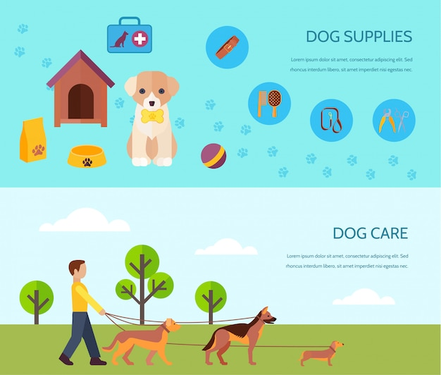 Cachorros, cachorros, raças, acessórios, fornecer, e, cuidado, 2, bandeiras lisas, composição, cartaz Vetor grátis