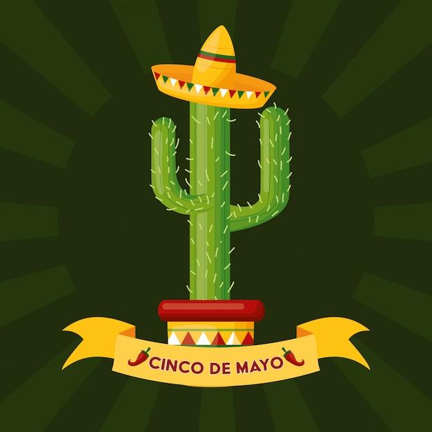 Cacto com chapéu mexicano, ilustração de cinco de mayo, méxico Vetor grátis