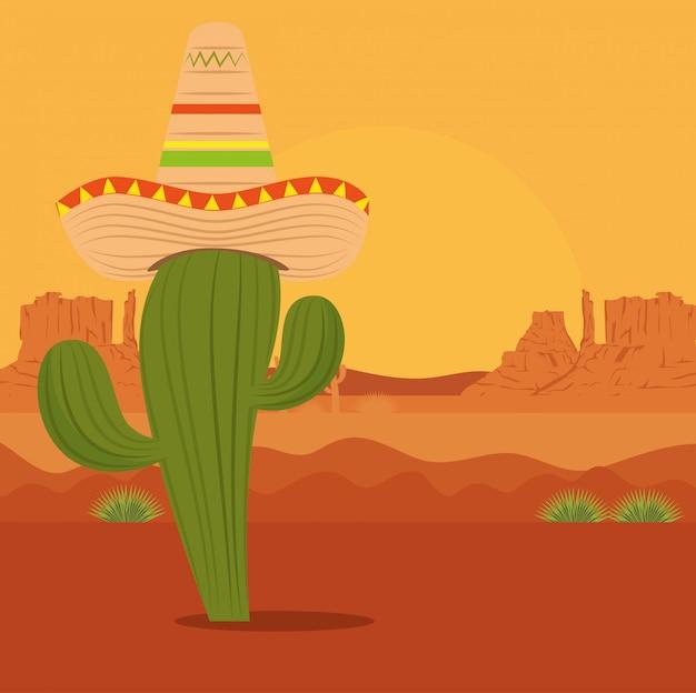 Cacto com chapéu no deserto Vetor grátis