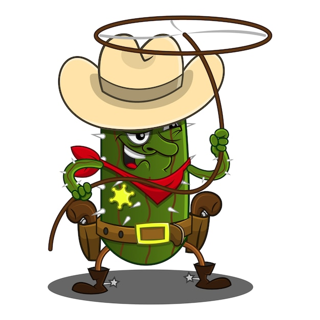 Cacto cowboy jogar vetor de desenhos animados de corda Vetor Premium