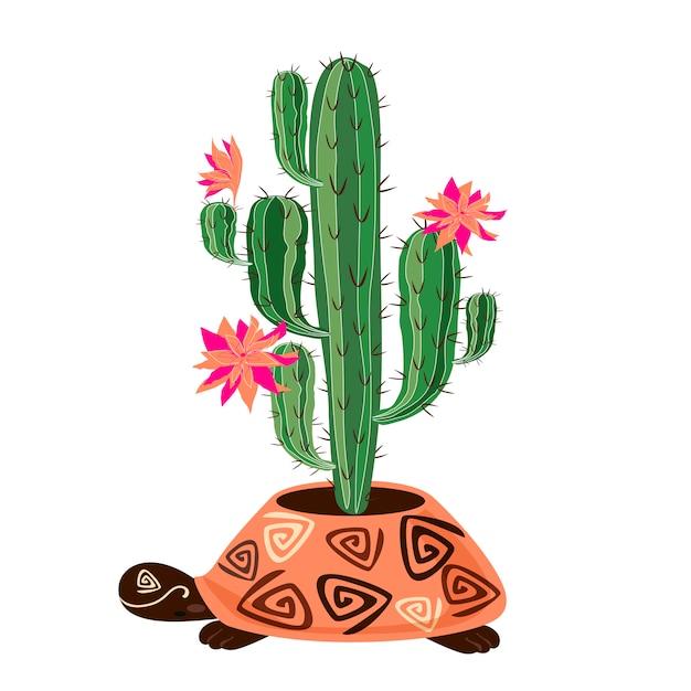 Cacto de floração em pote a forma de uma tartaruga Vetor Premium