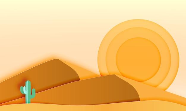 Cacto na paisagem do deserto com ilustração em vetor papel arte estilo Vetor Premium