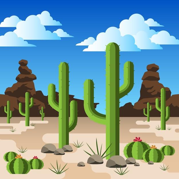 Cactos em um deserto rochoso Vetor Premium