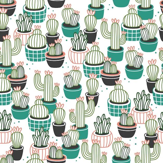 Cactus in pots seamless pattern Vetor Premium