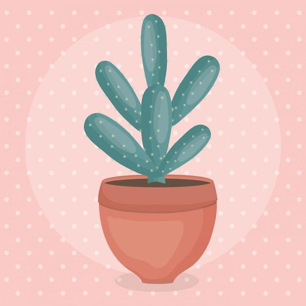 Cactus planta exótica em vaso de cerâmica Vetor grátis