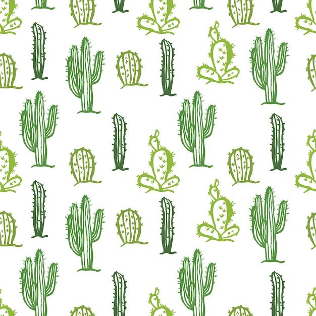 Cactus seamless color background Vetor grátis