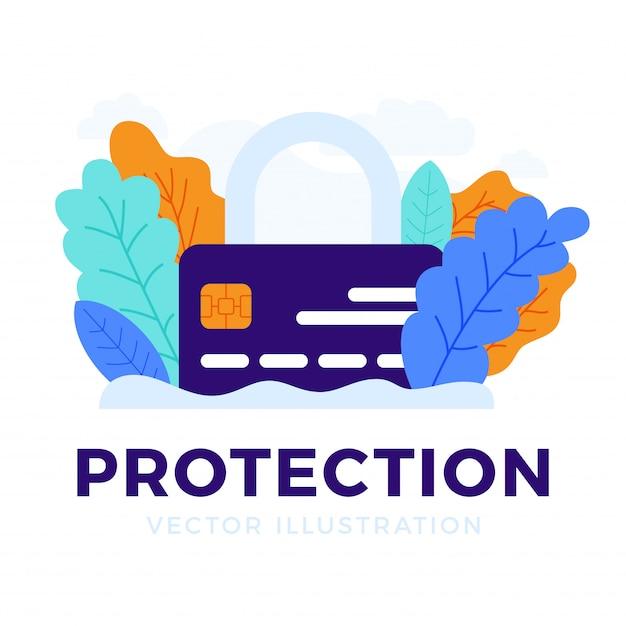 Cadeado com cartão de crédito isolado o conceito de proteção, segurança, confiabilidade de uma conta bancária. Vetor Premium
