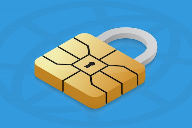 Cadeado com chip emv para cartão de crédito. Vetor Premium
