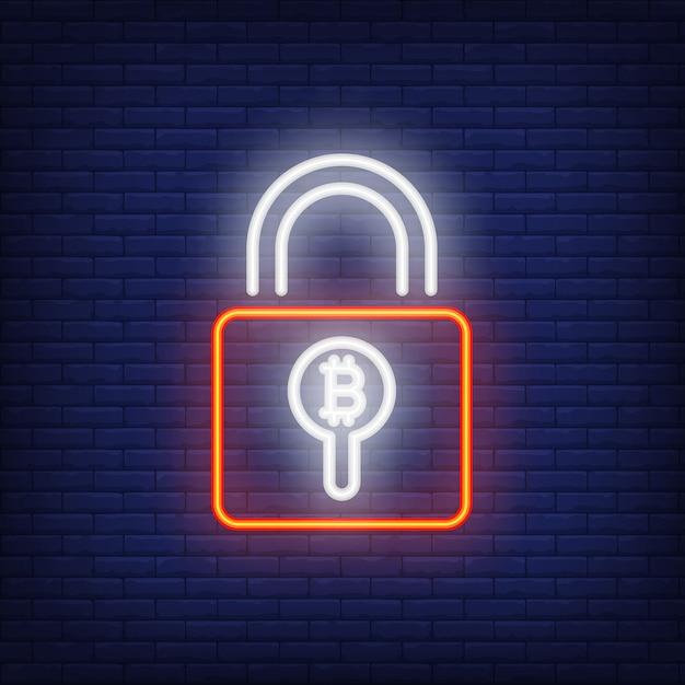Cadeado com sinal de néon de bitcoin. cadeado vermelho com símbolo de bitcoin dentro do buraco. Vetor grátis