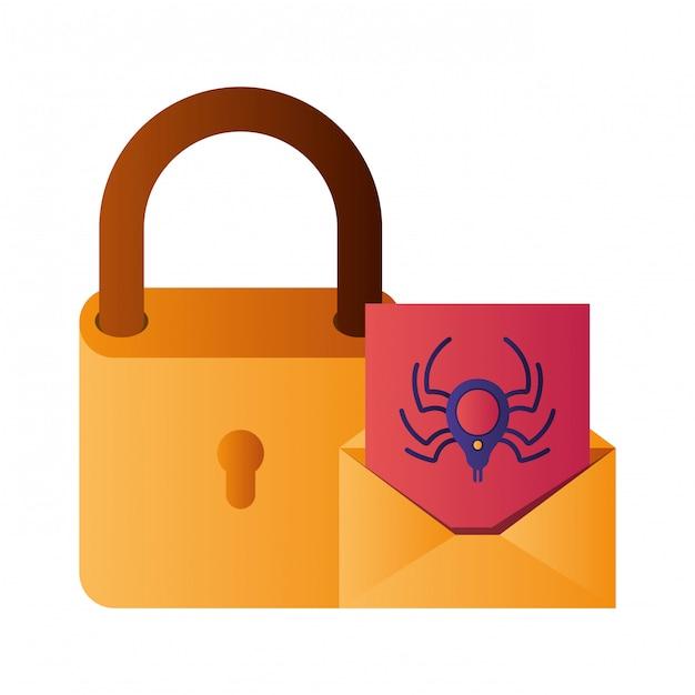 Cadeado fechado com ícones lisolated carta Vetor Premium