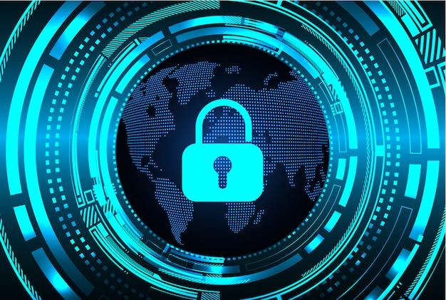 Cadeado fechado em fundo digital, segurança cibernética do mundo Vetor Premium