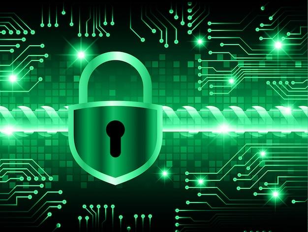 Cadeado fechado em fundo digital, segurança cibernética Vetor Premium