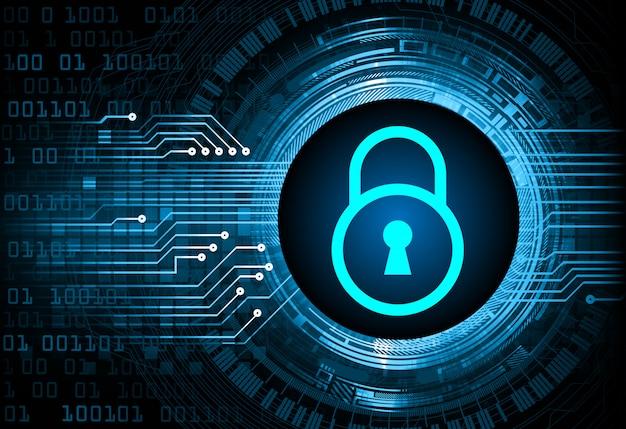 Cadeado fechado no fundo digital, azul segurança cibernética chave Vetor Premium