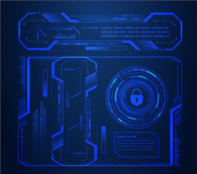 Cadeado fechado no fundo digital, segurança cibernética de hud Vetor Premium