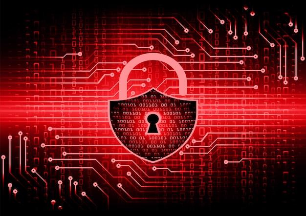 Cadeado fechado no fundo digital, segurança cibernética Vetor Premium
