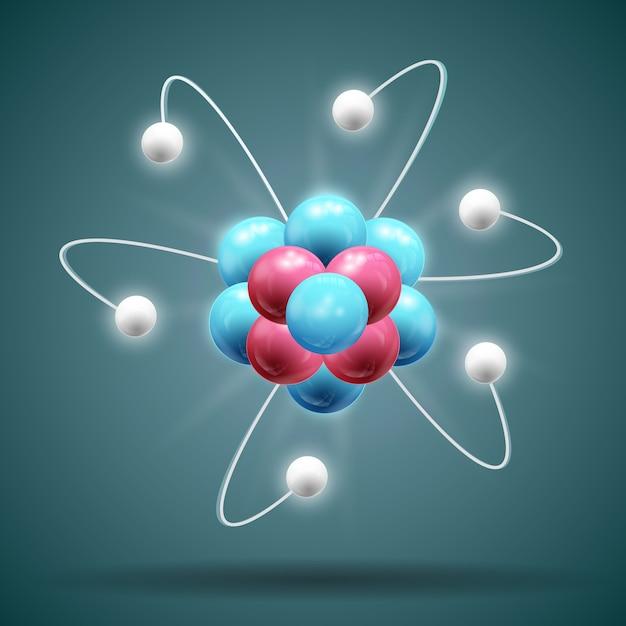 Cadeia de átomos da ciência nas cores branco azul e vermelho com sombra 3d Vetor grátis
