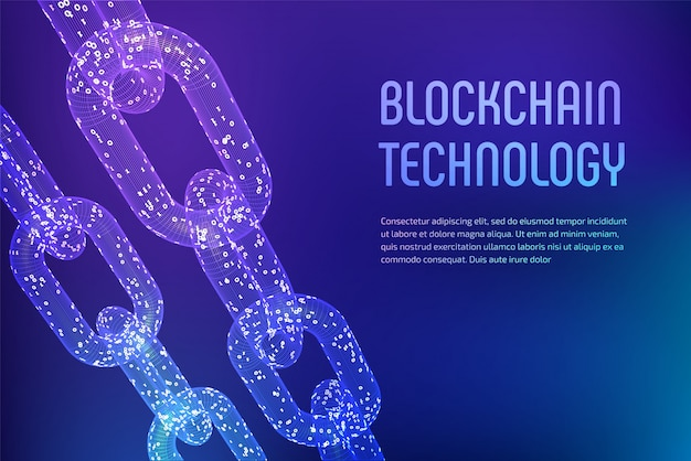 Cadeia de estrutura de arame 3d com código digital. conceito de blockchain. Vetor Premium
