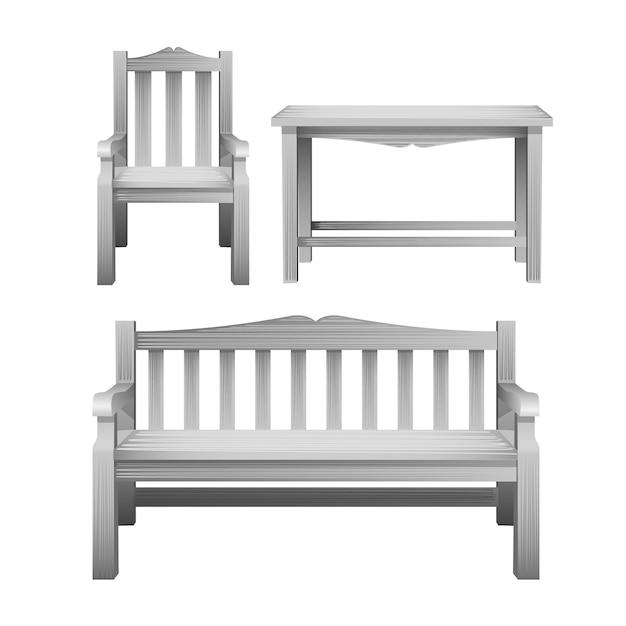 Cadeira, banco e mesa, um conjunto de mobiliário de exterior em madeira na cor branca. móveis decorativos para decoração de jardim, café e pátio Vetor Premium