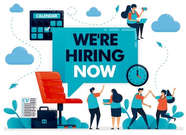 Cadeira de escritório com sinal que estamos contratando para vagas de emprego e anúncios de terceirização. Vetor Premium