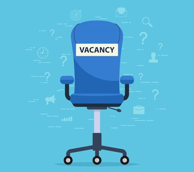 Cadeira de escritório com um assento vago. conceito encontrar um empregado para trabalhar. Vetor Premium