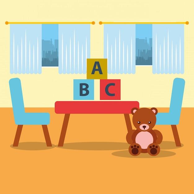Cadeira de mesa de kinder de sala de aula urso teddy blocos e janela Vetor Premium