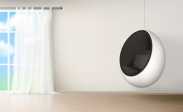Cadeira de ovo em vetor realista interior de quarto Vetor grátis