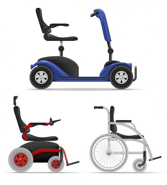 Cadeira de rodas para pessoas com deficiência ilustração em vetor de estoque Vetor Premium