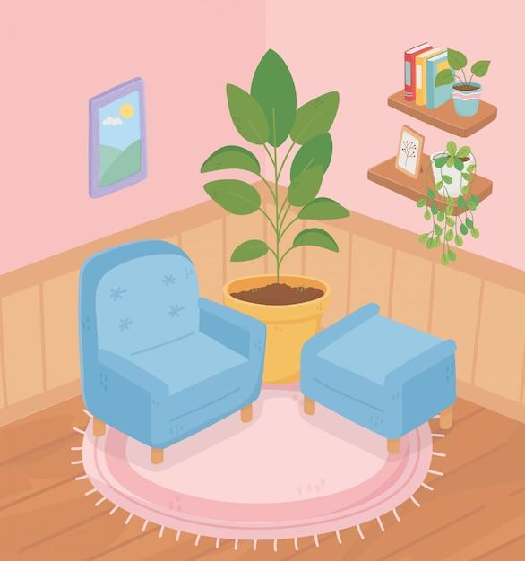 Cadeira de sofá em casa doce planta em vaso nas prateleiras do tapete livros plantas quadro quarto Vetor Premium