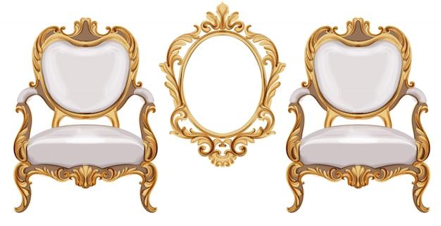Cadeira estilo luís xvi com ornamentos neoclássicos dourados Vetor Premium