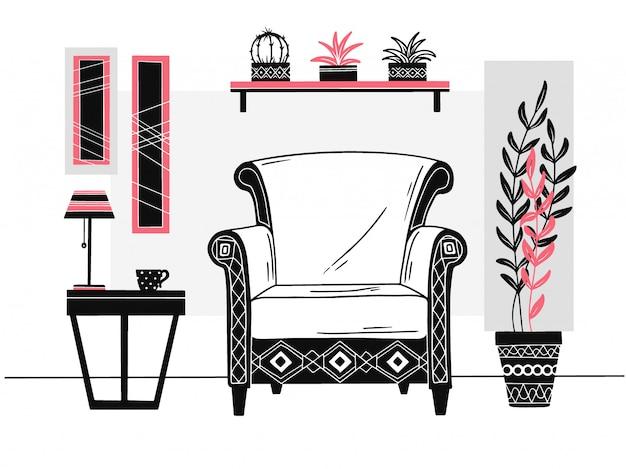 Cadeira, mesa com caneca. prateleira com livros e plantas. mão desenhada ilustração vetorial Vetor Premium