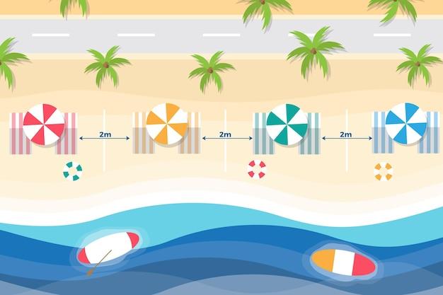 Cadeiras de praia e guarda-sóis de distanciamento social Vetor grátis