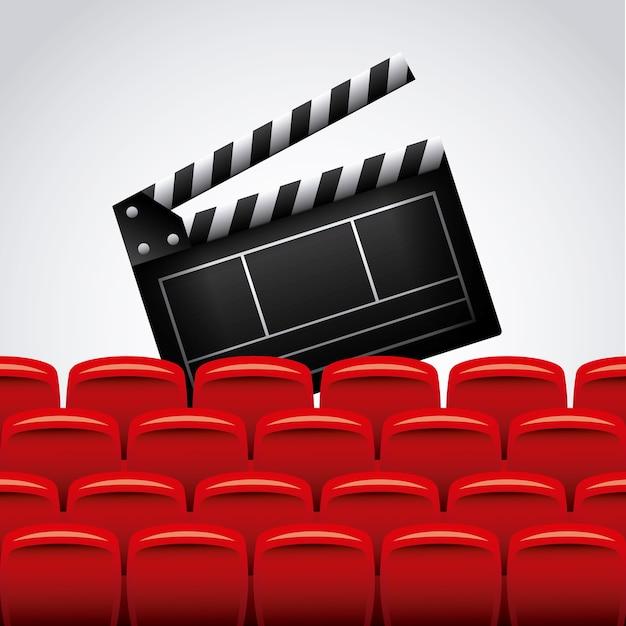 Cadeiras de ripa e teatro Vetor Premium