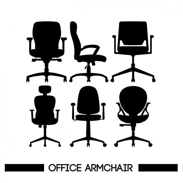 Cadeiras silhuetas Vetor grátis