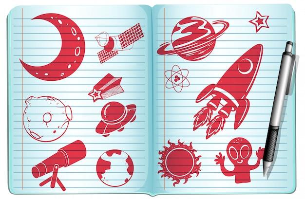 Caderno cheio com símbolos de ciência Vetor grátis