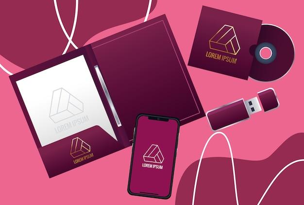 Caderno com ilustração da marca dos elementos do conjunto Vetor Premium