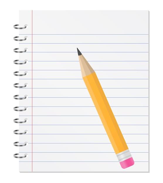 Caderno com lápis Vetor Premium
