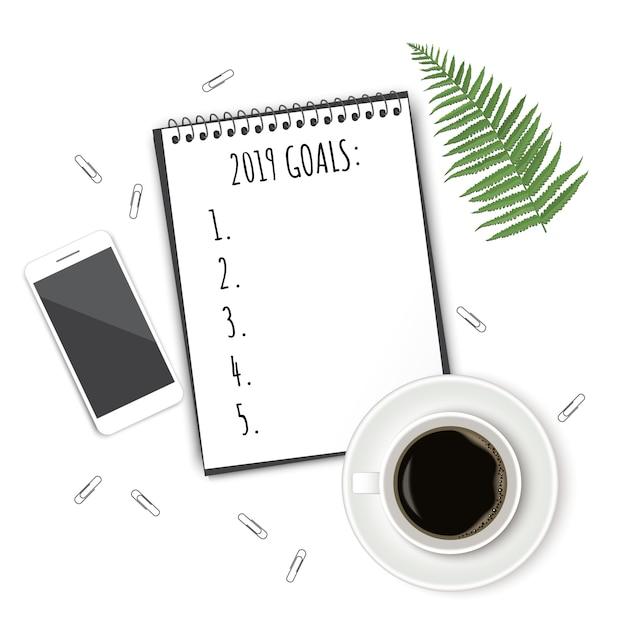 Caderno com lista de desejos na mesa rústica branca Vetor Premium