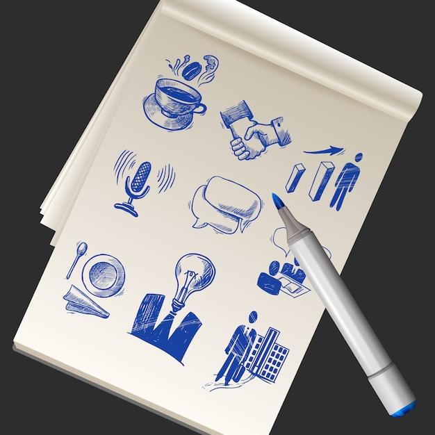 Caderno de papel realista Vetor grátis