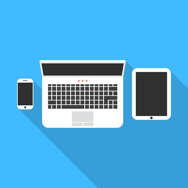 Caderno de telefone e tablet com sombra longa Vetor Premium