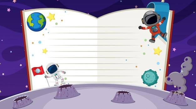 Caderno em branco no espaço Vetor Premium