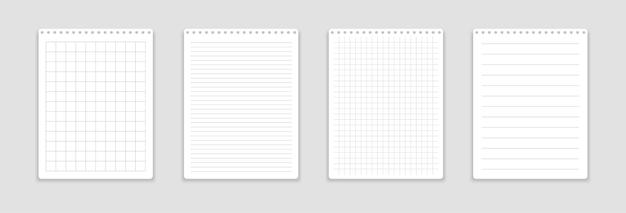 Caderno realista com folhas quadradas e lineares. Vetor Premium