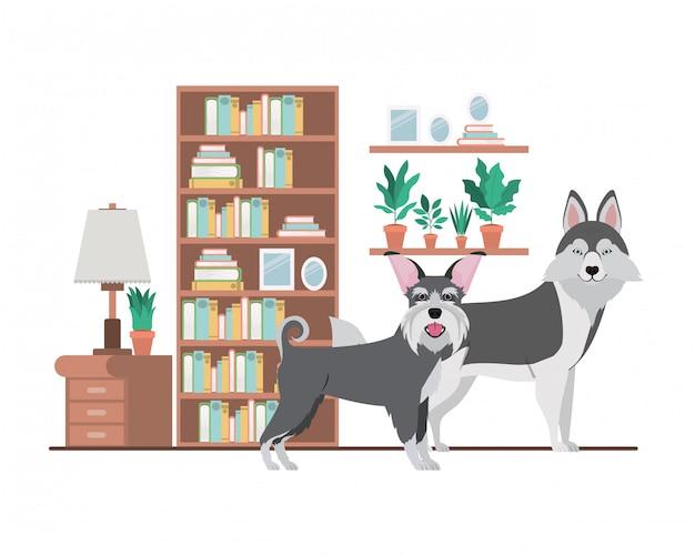 Cães bonitos e adoráveis na sala de estar Vetor Premium